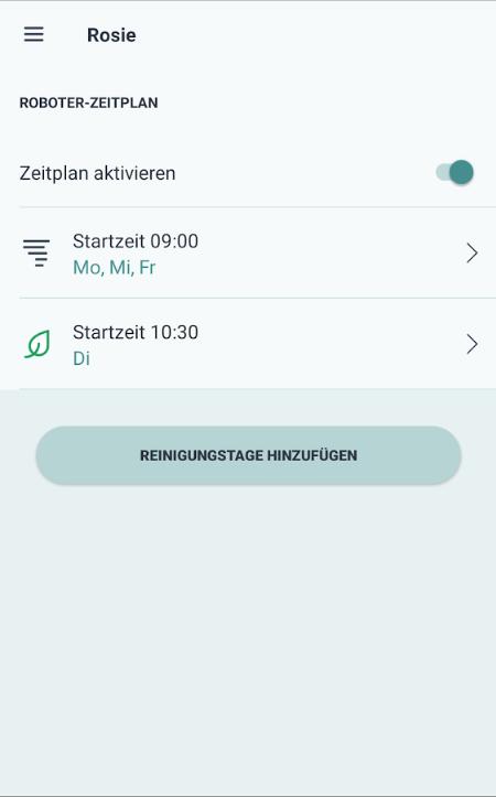Saugroboter App Zeitplan